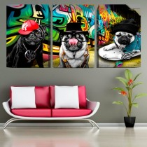 Quadro Decorativo canvas Cachorro PUG Gangster rapper 03 telas - Kit com 3 telas (60x40cm Cada) -Total 60x120cm (AxL)